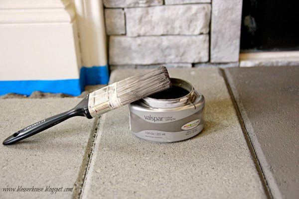 paint concrete hearth of faux fireplace, Valspar Rugged Suede - Blesser House featured on @Remodelaholic