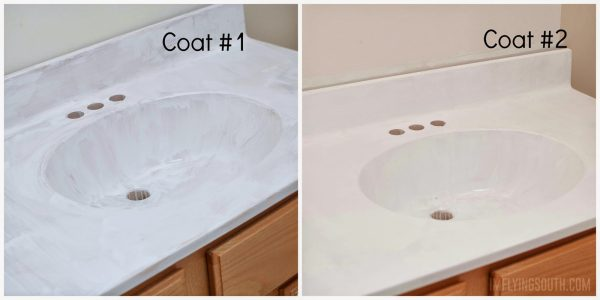 painted bathroom sink and countertop process - I'm Flying South featured on @Remodelaholic