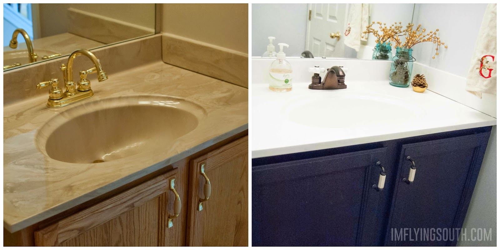 painted bathroom sink tutorial before and after im flying south featured on - Bathroom Cabinets Before And After