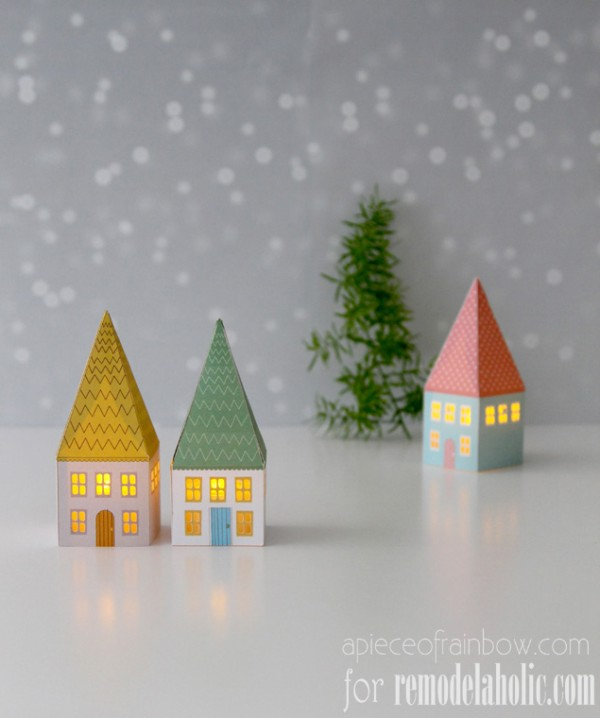 paper house luminary free patterns - A Piece of Rainbow on @Remodelaholic