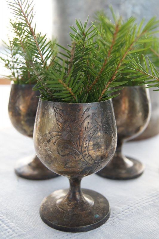 pine sprigs in goblet - lantlivinorregrd via @Remodelaholic