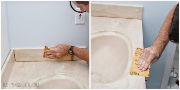 prep sink and countertop for painting by sanding - I'm Flying South featured on @Remodelaholic