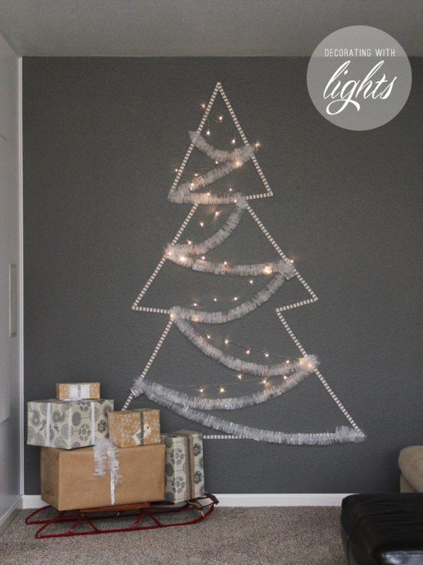 ribbon and christmas light tree wall art - Warm Hot Chocolate via @Remodelaholic
