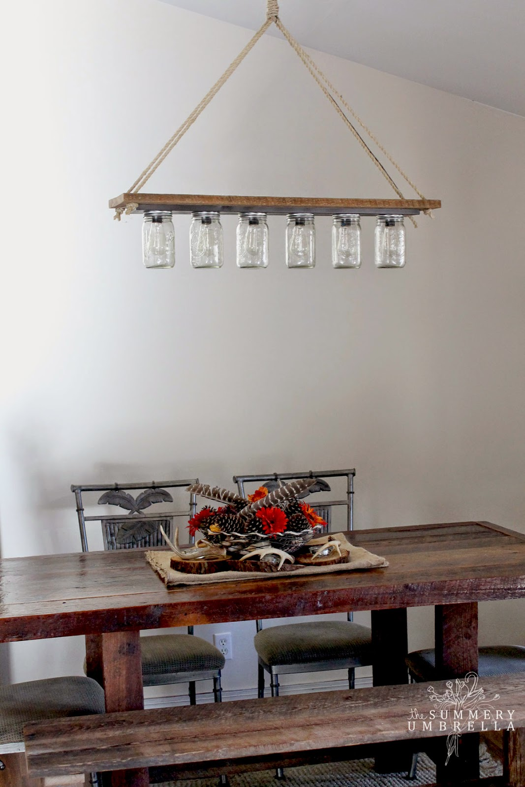 Simple rustic mason jar and wood hanging chandelier pendant light DIY The Summery Umbrella featured on