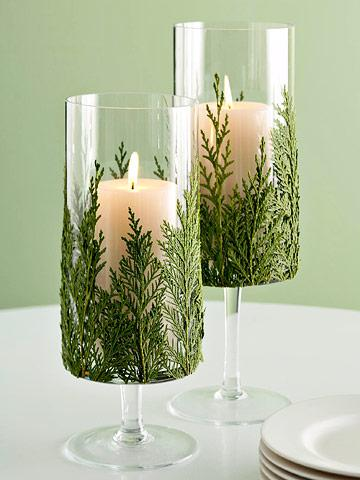 sprigs of evergreen fir as candleholders - Living the Country Life via @Remodelaholic