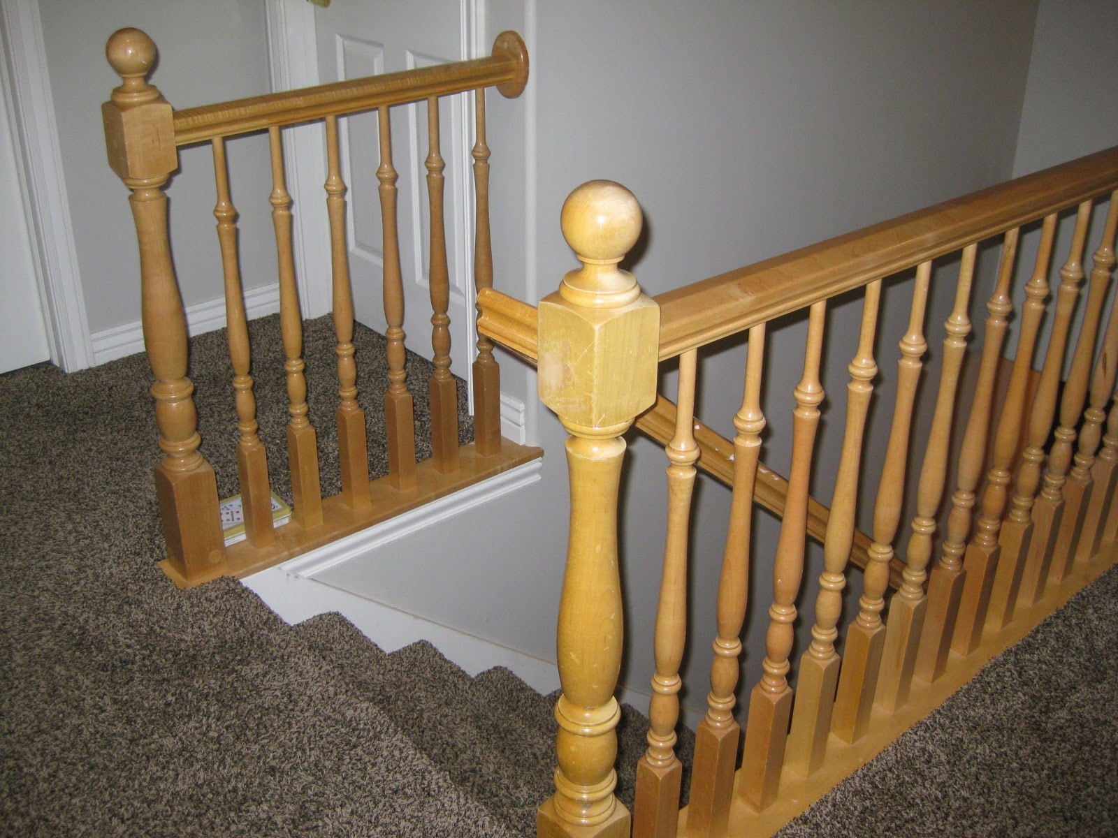 Stair Banister Before   TDA Decorating And Design Featured On @Remodelaholic