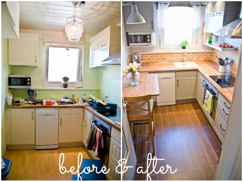 Remodelaholic tiny kitchen renovation with faux painted brick backsplash Kitchen design for tiny house