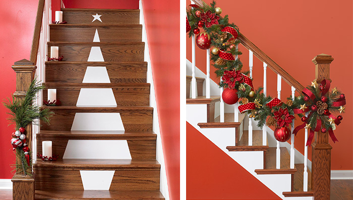 Remodelaholic holiday decorating ideas for every room in for Stair railing decorated for christmas