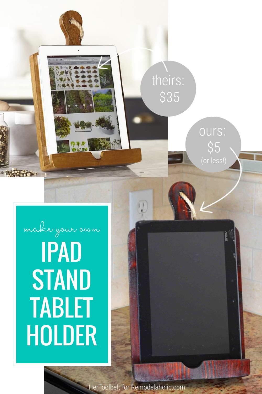 Wood Diy IPad Stand Tablet Holder Easy Gift Idea, HerToolbelt For Remodelaholic