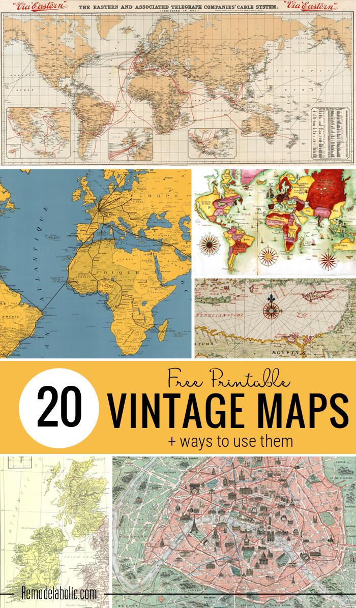 20 ingyenes vintage térkép nyomtatható kép a Remodelaholic-tól