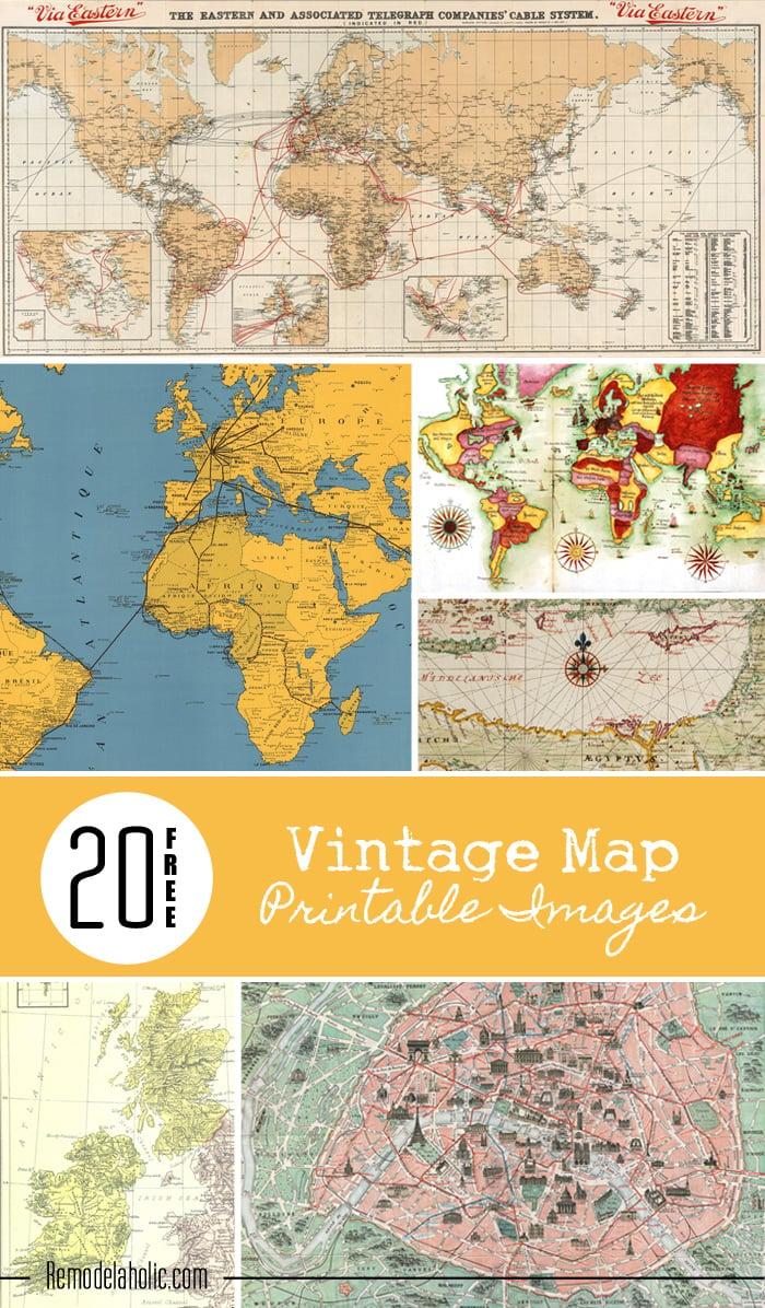 Remodelaholic 20 free vintage map printable images 20 free vintage map printable images remodelaholic art printable maps gumiabroncs Image collections