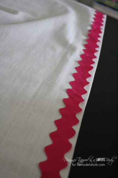 AWESOME tutorial on how to hem and embellish store-bought curtains for a custom look. Full tutorial by Designer Trapped in a Lawyer's Body for Remodelaholic.com!AWESOME tutorial on how to hem and embellish store-bought curtains for a custom look. Full tutorial by Designer Trapped in a Lawyer's Body for Remodelaholic.com!
