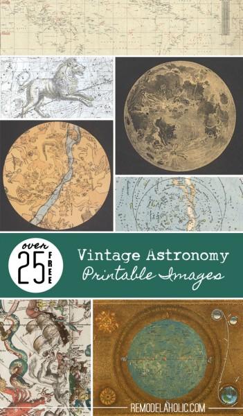 25 Free Vintage Astronomy Printable Images   Remodelaholic.com #printables #art #vintage