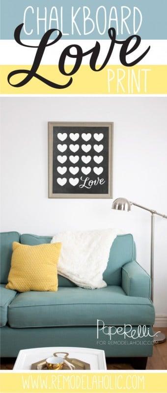 Chalkboard Love Printable @Remodelaholic