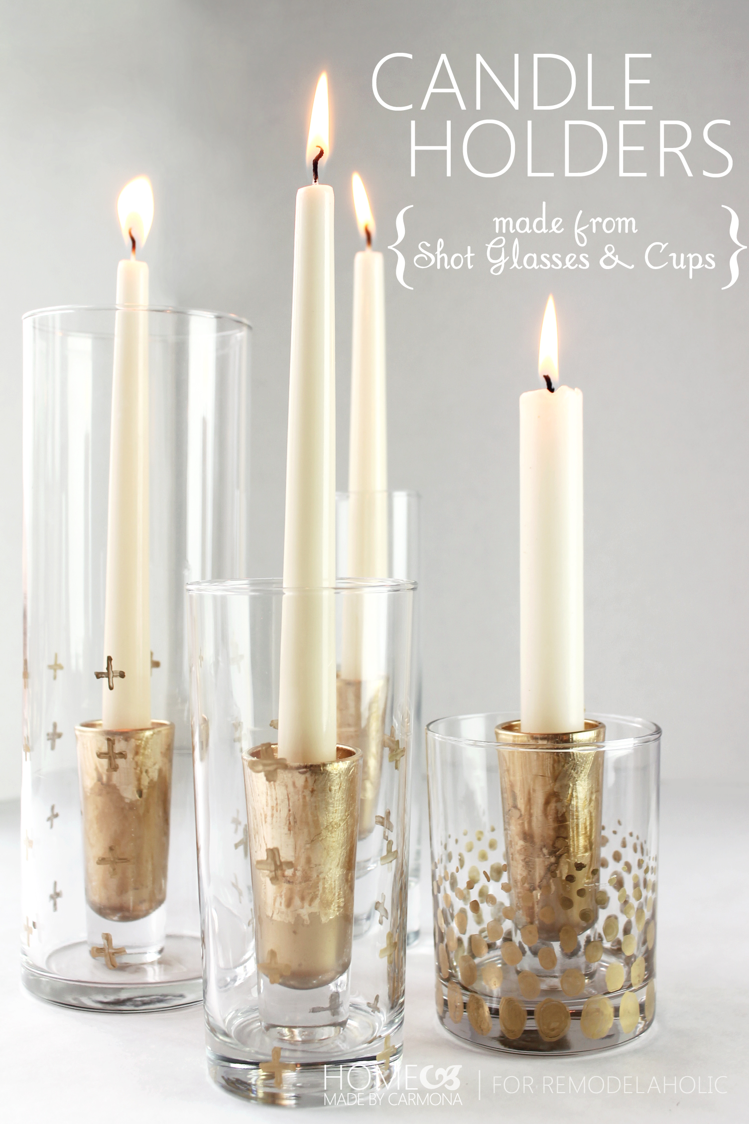 remodelaholic diy gold leaf candle holders