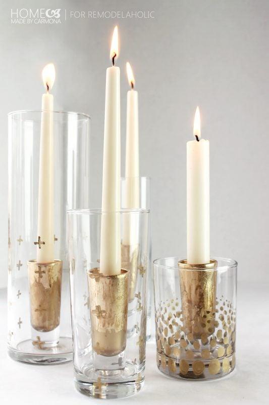 DIY Gold leaf candle holders - for Remodelaholic