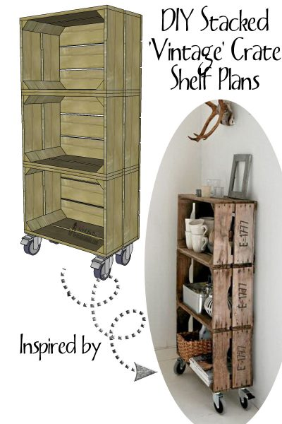 DIY stacked vintage crate shelf plan