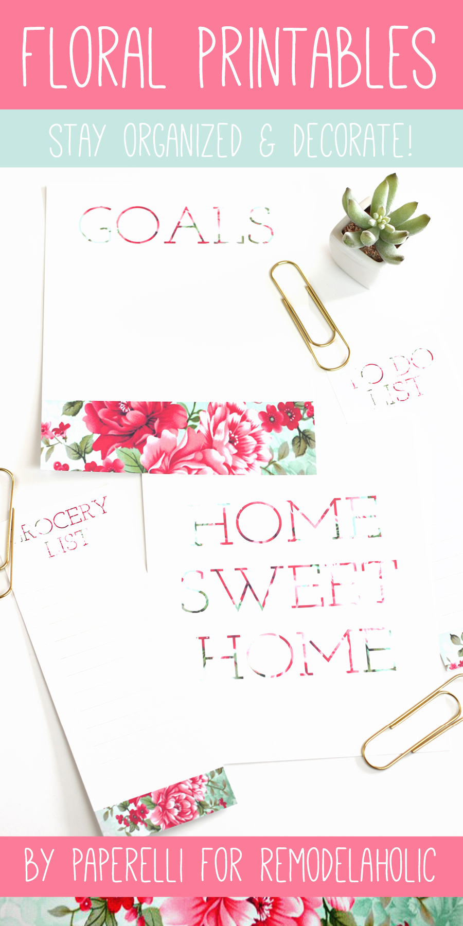 floral printables for remodelaholic by paperelli todo grocerylist goals