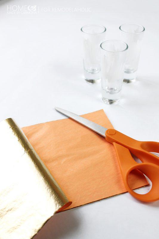 Gold leaf and shot glasses - for Remodelaholic
