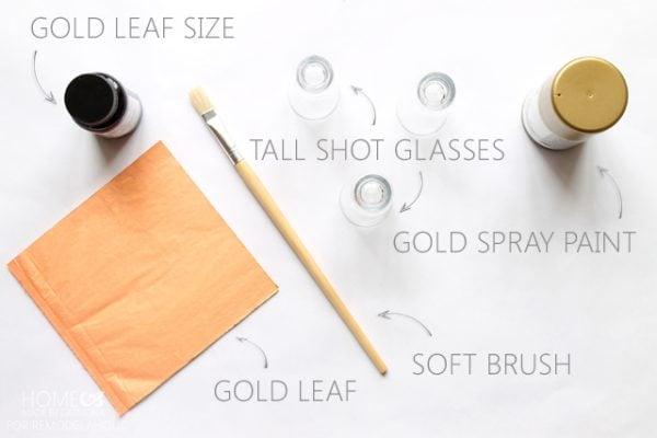 Gold leaf candle holder materials - for Remodelaholic