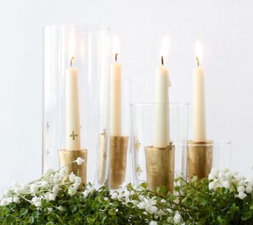 DIY Gold Leaf Candle Holders