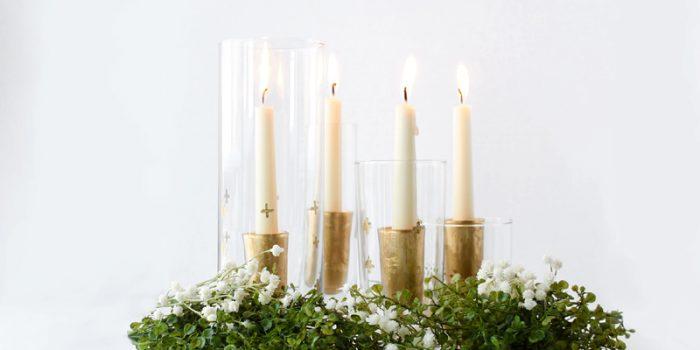 DIY Gold Leaf Candle Holders