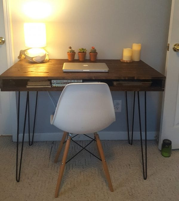 mid century modern desk built by reader using remodelaholic plans - Mid Century Modern Furniture Desk