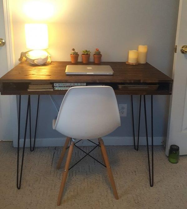 Mid-Century Modern Desk built by reader using Remodelaholic plans
