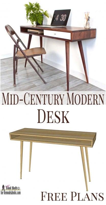 mid century modern desk plans