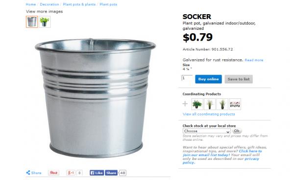 cheap metal IKEA bucket organizer