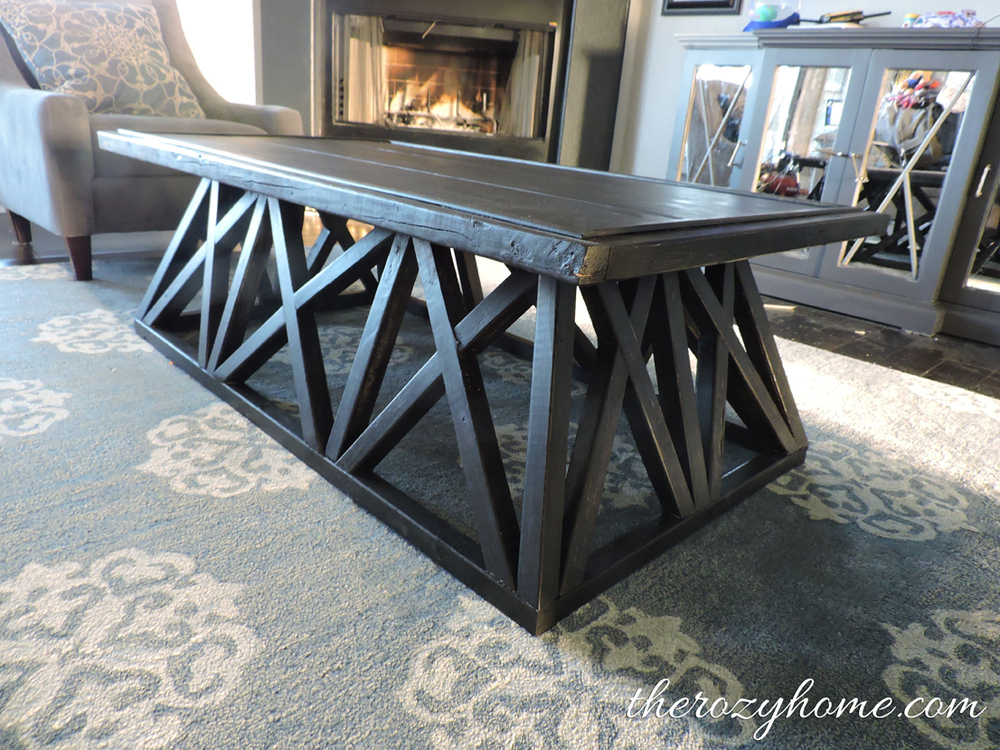 Remodelaholic 70 restoration hardware inspired trestle for Coffee tables you can sit on