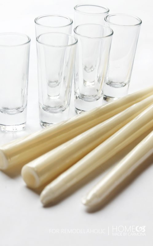 Shot glasses and tapered candles - for Remodelaholic