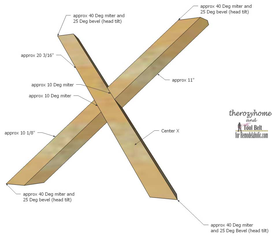 Trestle Door Coffee Table-center X