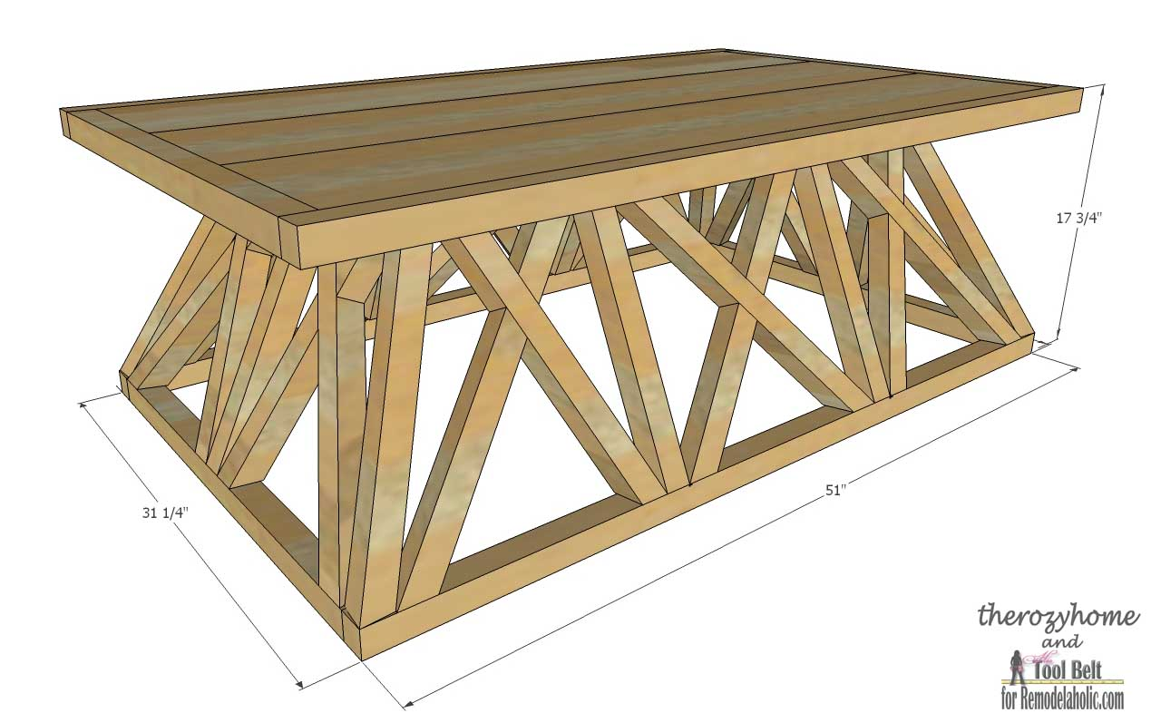 Trestle Door Coffee Table-overall dimensions