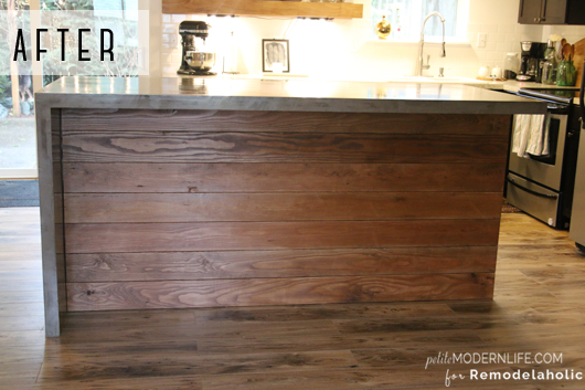 Kitchen island table with stools - Remodelaholic Diy Concrete Kitchen Island Reveal How To