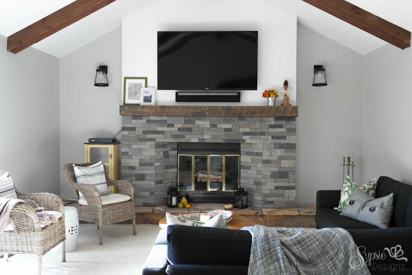 Remodelaholic 7 inspiring before and afters january for Fireplace half stone