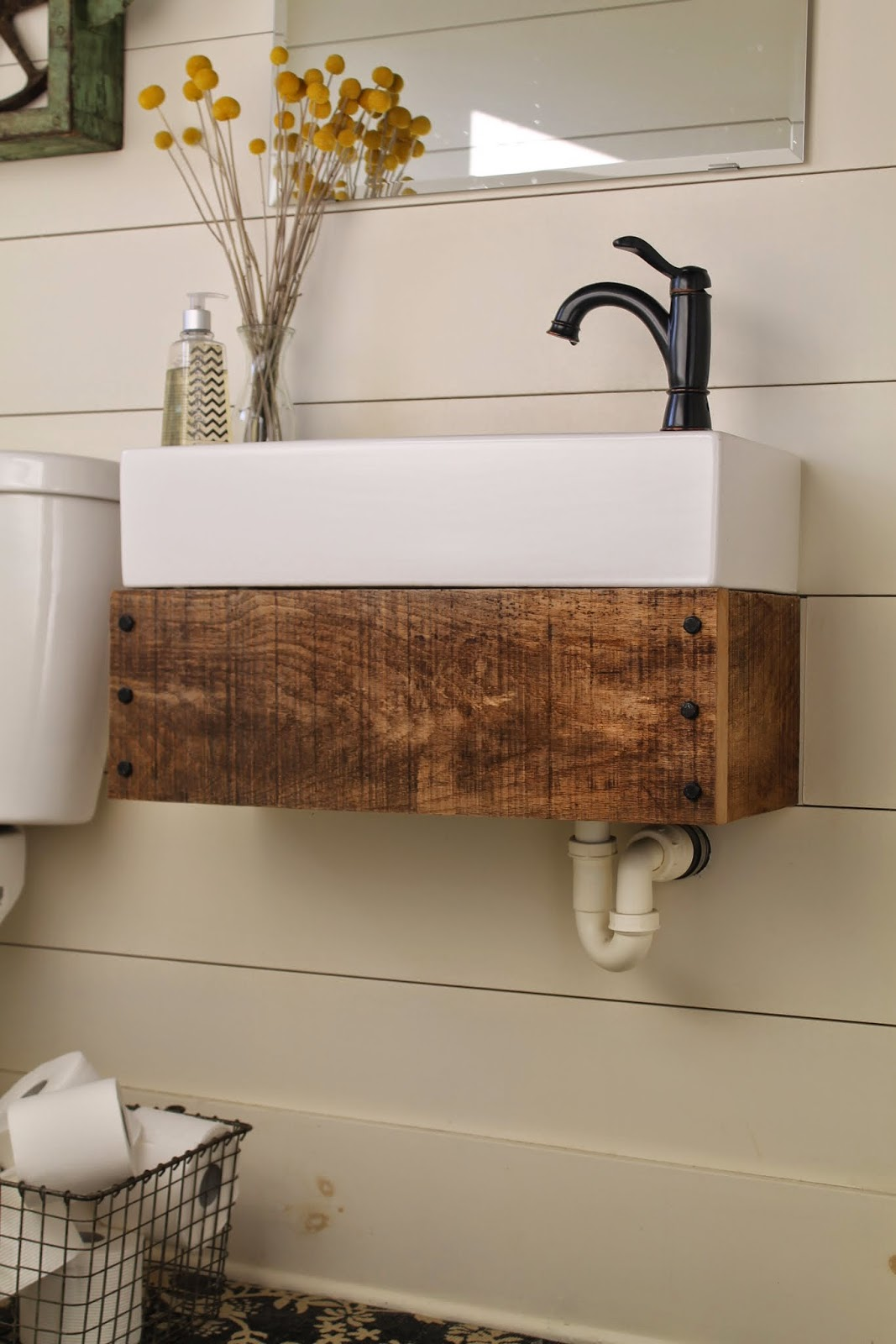 Remodelaholic reclaimed wood floating vanity for Recycled bathroom sinks