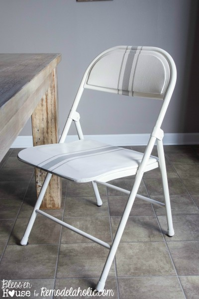 grain sack painted folding chair makeover