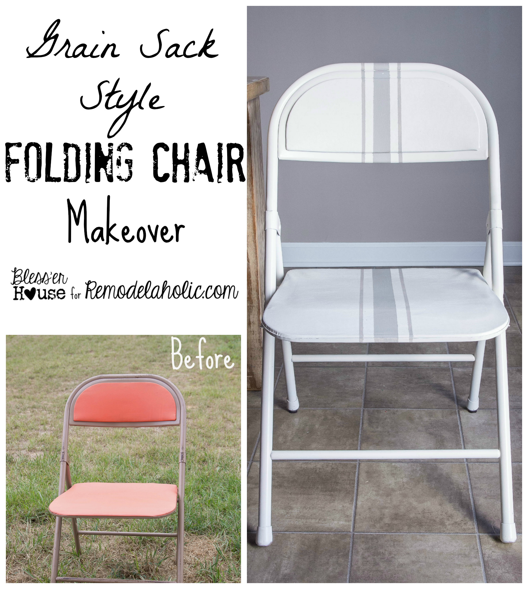 Remodelaholic Easy Grain Sack Style Painted Folding Chair Makeover