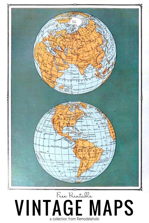 Ingyenes nyomtatható vintage térképek, a Remodelaholic-tól