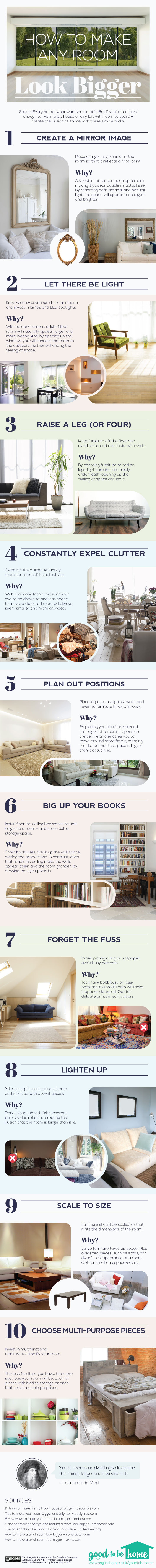 How to make a Room Look Bigger Infographic