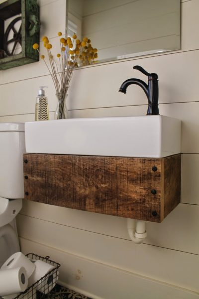 Good Pottery Barn inspired bathroom vanity