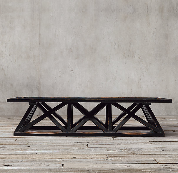 Remodelaholic 70 Restoration Hardware Inspired Trestle Door Coffee Table
