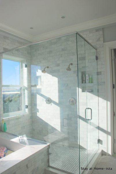 spacious master bathroom with glass shower, Stay at Home ista via @Remodelaholic