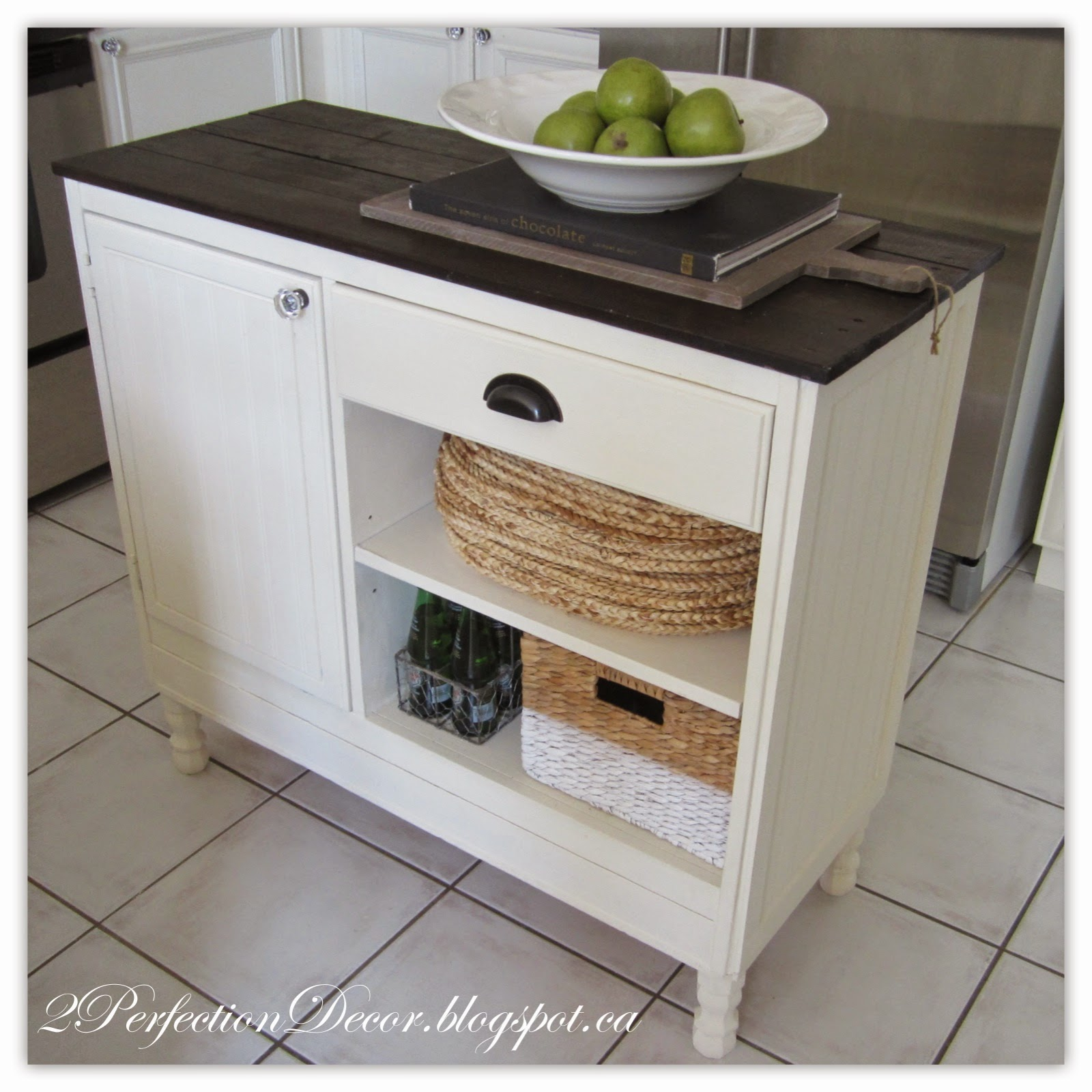 Superb Beadboard kitchen island with open shelves and plank wood top by Perfection Decor featured on