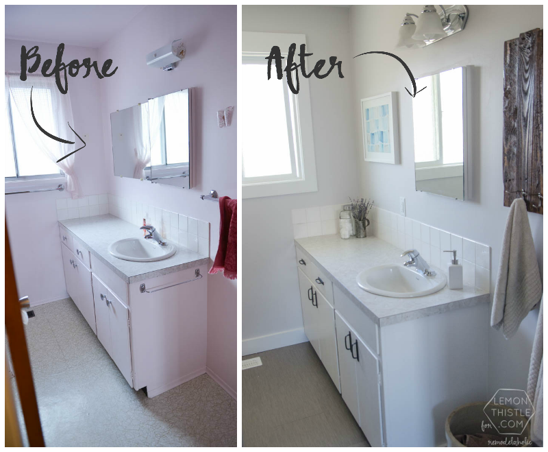 Remodelaholic diy bathroom remodel on a budget and for Remodeling bathroom on a budget ideas