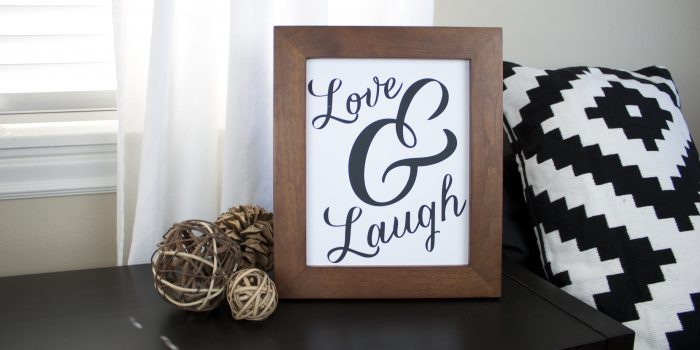 Love & Laugh Black and White Art Printable