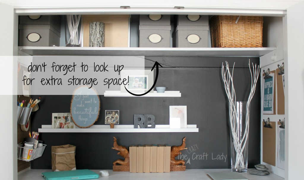 closet office space. Closet Office With Extra Storage Space - The Crazy Craft Lady Featured On @Remodelaholic