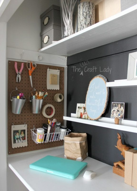 Craft space and home office in a closet - The Crazy Craft Lady featured on @Remodelaholic