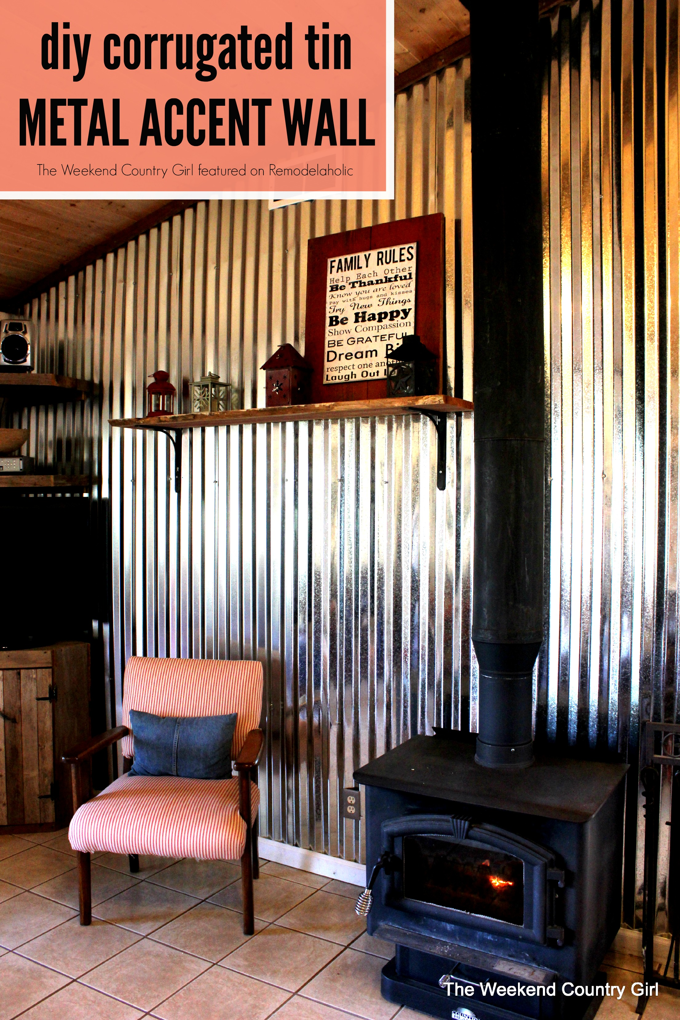Create Your Own Corrugated Tin Metal Sheet Accent Wall The Weekend Country Featured On